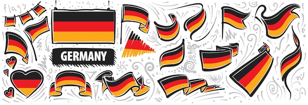 Vektorset der nationalflagge deutschlands in verschiedenen kreativen designs.