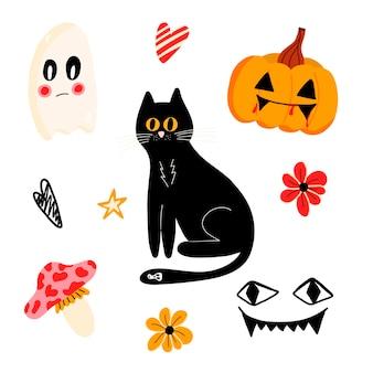 Vektorset für halloween mit einer schwarzen katze, einem kürbis und einem geist in einem flachen cartoon-stil