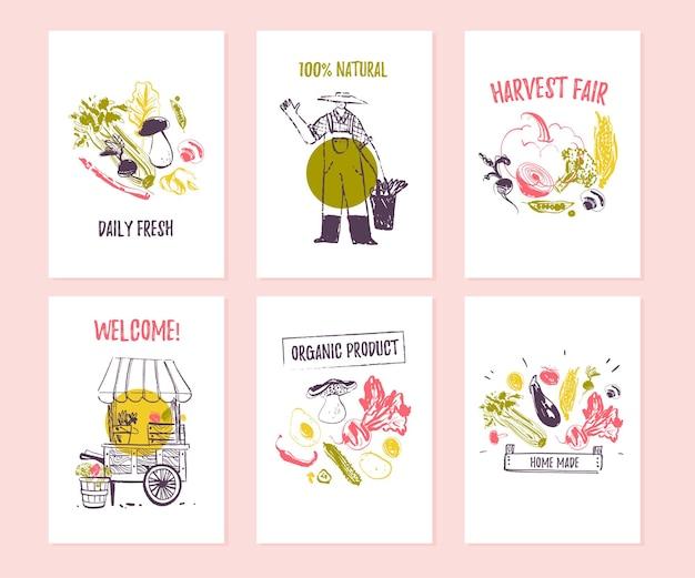 Vektorset handgezeichneter karten für lebensmittelfestival, bauernmarkt und erntemesse mit süßen handgezeichneten skizzennahrungselementen - gemüse, bauer, stall. gut für preisschilder, banner, werbung, speisekarte