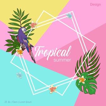 Vektorset-illustrationsvorlage für eine postkarte, eine visitenkarte oder ein werbebanner. platz für den text. abbildung auf lager. eine helle grußkarte für eine einladung oder ein ereignis. lila papagei