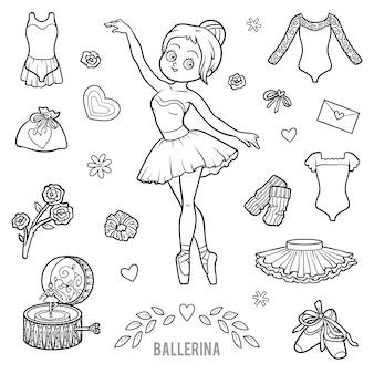 Vektorset mit ballerina und tanzenden gegenständen. cartoon-schwarz-weiß-artikel