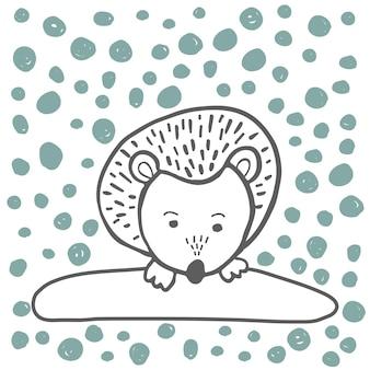 Vektorset mit entzückenden tieren im trendigen skandinavischen stil. lustige, süße, umarmte, handgezeichnete illustration für poster, banner, druck, dekorationskinderspielzimmer oder grußkarten.