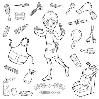 Vektorset mit friseur und objekten zum haarschneiden. cartoon-schwarz-weiß-artikel