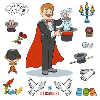 Vektorset mit magier und objekten für zaubertricks. bunte gegenstände der karikatur