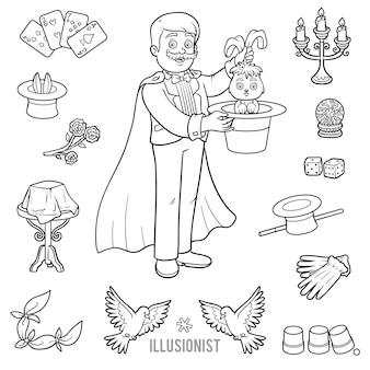 Vektorset mit zauberer und objekten für zaubertricks. cartoon-schwarz-weiß-artikel