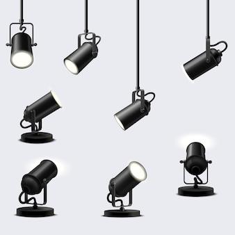 Vektorset von decken- und bodenstrahlern. die wirkung von leuchtenden lampen auf hellem hintergrund