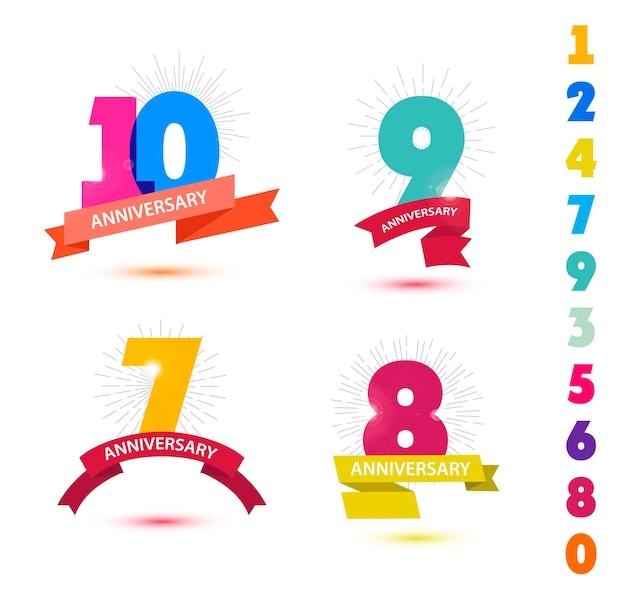 Vektorset von jubiläumszahlen design 10 9 7 8 icons kompositionen mit bändern