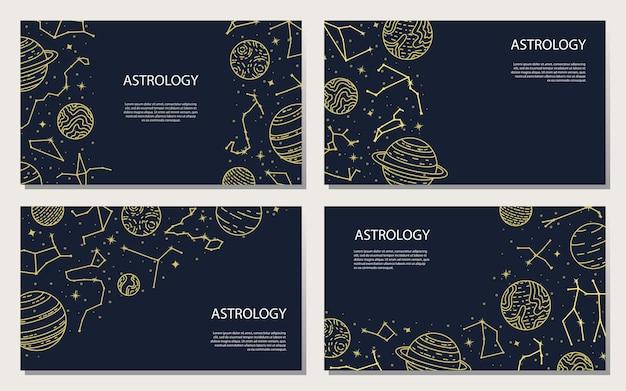 Vektorset von postern mit planeten und konstellationen. astrologischer hintergrund. eine vorlage mit platz für text.