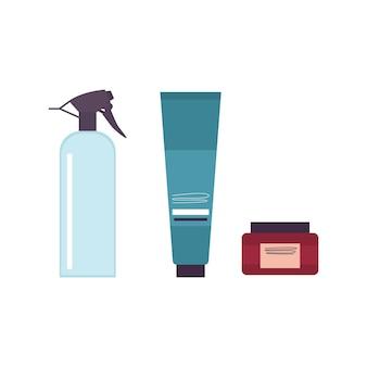 Vektorsets für die tägliche hygiene von schnurrbart und bart im friseurladen