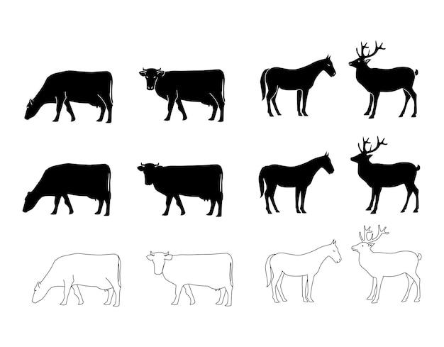 Vektorsilhouette von kuhpferd und hirsch. satz moderner zeichnung isoliert auf weißem hintergrund. für verpackungen, logos oder icon-design.