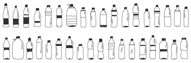 Vektorskizze gesetzte plastikflaschen für wasser. gekritzel-abbildung.