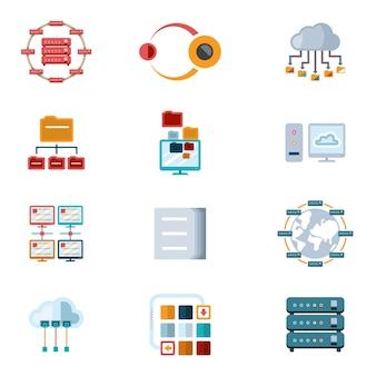 Vektorsortierte farbige computernetzwerksymbole mit dateiservern und computergeräten, die auf weißem hintergrund isoliert werden.