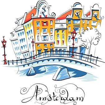 Vektorstadtansicht von amsterdam-kanal