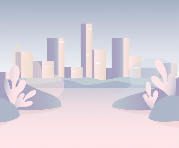 Vektorstadtlandschaft mit hohen wolkenkratzern