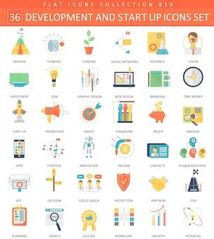 Vektorstart und flache ikonen der entwicklung