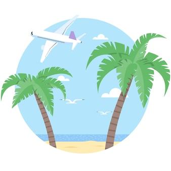 Vektorstrand mit palmen- und flugzeugillustration auf weiß