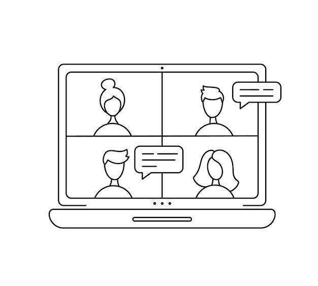 Vektorsymbol monoline online-meeting über gruppenanruf