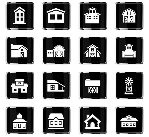 Vektorsymbole für landwirtschaftliche gebäude für das design der benutzeroberfläche
