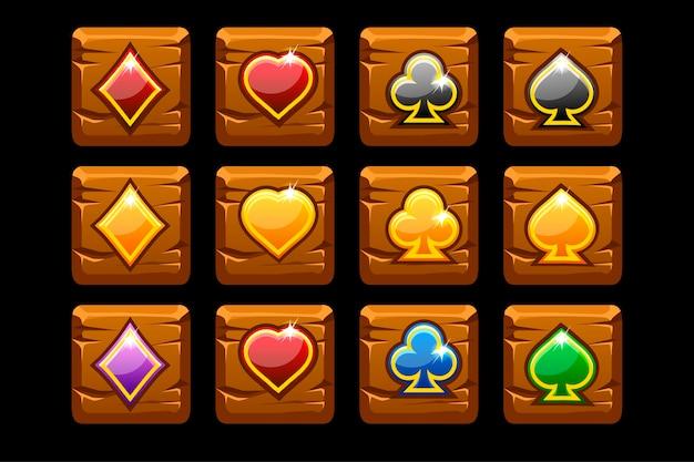 Vektorsymbolspielkarten auf hölzernem quadrat.