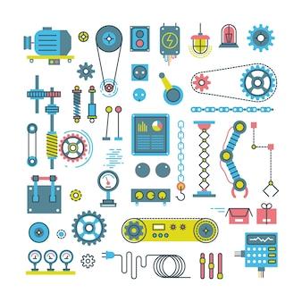 Vektorteile von flachen ikonen des mechanismus und der roboter