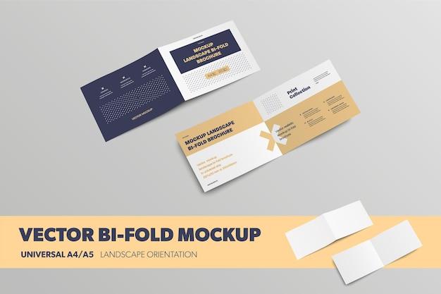 Vektoruniverselle a4 a5 business bifold-vorlage mit realistischen schatten für die designpräsentation