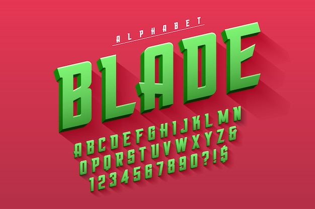 Vektorverdichtete ursprüngliche anzeigenschriftart, alphabet