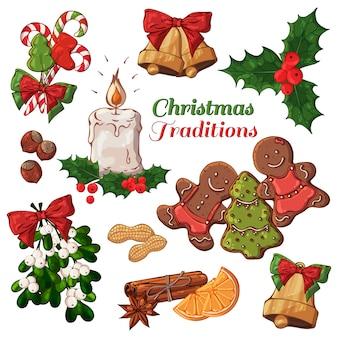 Vektorverschiedene arten von weihnachtssymbolen und -bonbons.
