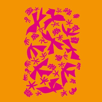 Vektorvögel und naturblume einfache formen illustrationsgrafikressource