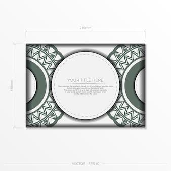Vektorvorbereitung der einladungskarte mit platz für ihren text und vintage-muster. luxuriöse vorlage für druckbare designpostkarten in weißer farbe mit dunklen griechischen mustern.