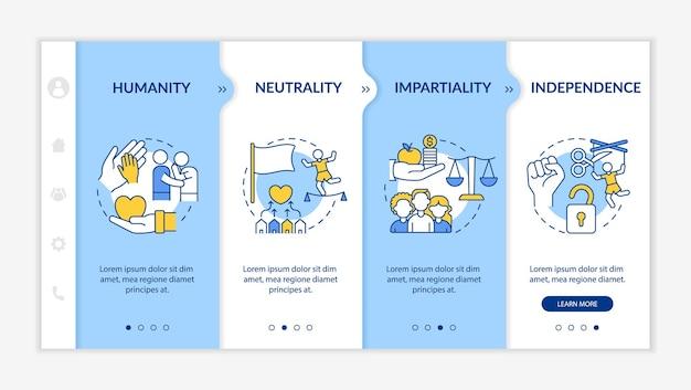 Vektorvorlage für das onboarding der humanitären hilfe. responsive mobile website mit symbolen. webseiten-walkthrough-bildschirme in 4 schritten. menschlichkeit, unparteilichkeit farbkonzept mit linearen illustrationen