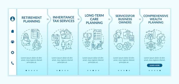 Vektorvorlage für das onboarding von vermögenskontrolldiensten. responsive mobile website mit symbolen. webseiten-walkthrough-bildschirme in 5 schritten. umfassendes farbkonzept zur vermögensplanung mit linearen illustrationen
