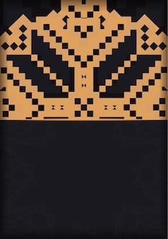 Vektorvorlage für printdesign-postkarten in schwarzer farbe mit slowenischen mustern. vorbereitung einer einladung mit platz für ihren text und vintage-ornamente.