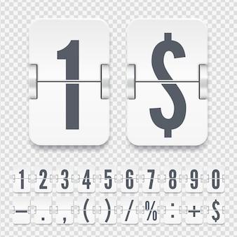 Vektorvorlage für zeitzähler oder webseiten-timer. flip zahlen und symbole auf der leichten mechanischen anzeigetafel auf transparentem hintergrund isoliert.
