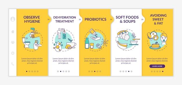 Vektorvorlage zur vorbeugung und behandlung von verdauungsstörungen. auf hygiene achten, süßes und fettes vermeiden. responsive mobile website mit symbolen. schrittbildschirme für die website-walkthrough-schritte. rgb-farbkonzept