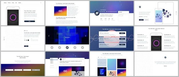 Vektorvorlagen für website-design, minimale präsentationen, portfolio mit abstrakten bunten infografiken, minimalistische futuristische hintergründe. ui, ux, gui.