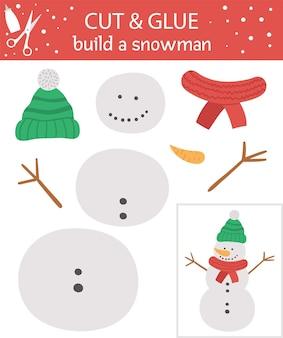 Vektorweihnachten schneiden und kleben aktivität. winterpädagogisches bastelspiel mit süßem schneemann. lustige aktivität für kinder. erstellen sie ein schneemann-arbeitsblatt für kinder.