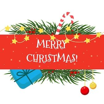 Vektorweihnachtskarte mit einem geschenk, einer girlande, tannenzweigen und einer zuckerstange auf rotem hintergrund