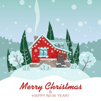 Vektorweihnachtskarte mit einem haus und bäumen