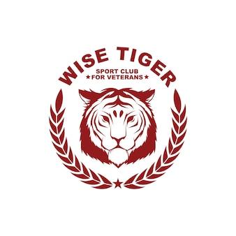 Vektorweinleseartausweis-designschablone mit tiger