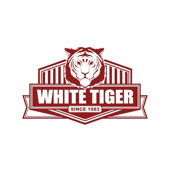 Vektorweinleseartlogo-designschablone mit tiger