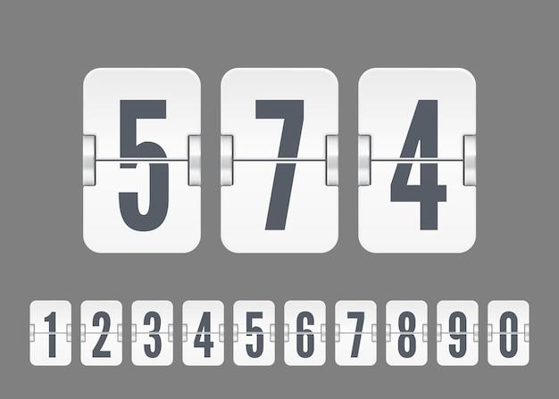 Vektorweiße anzeigetafelnummern für flip-countdown-timer oder kalender isoliert auf grauem hintergrund. vorlage für ihr design.