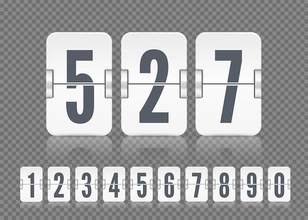 Vektorweiße anzeigetafelnummern mit reflexionen für flip-countdown-timer oder kalender auf dunklem transparentem hintergrund. vorlage für ihr design.