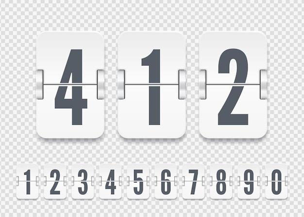 Vektorweiße anzeigetafelnummern mit schatten für flip-countdown-timer oder kalender auf transparentem hintergrund. vorlage für ihr design.
