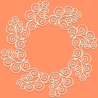 Vektorweißes doodle-muster aus spiralen, strudeln und blumen