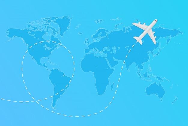 Vektorweltkarte mit fliegendem flugzeug und gestricheltem flugzeugreisekonzept.