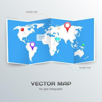 Vektorweltkarte mit infographic elementen.