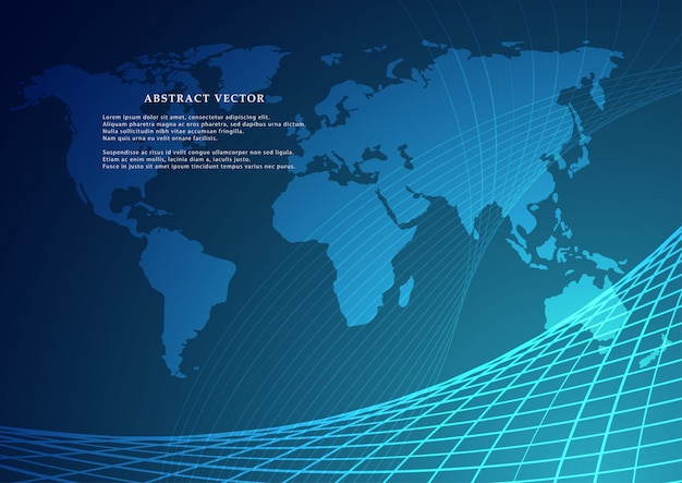 Vektorweltkarte mit kontinent
