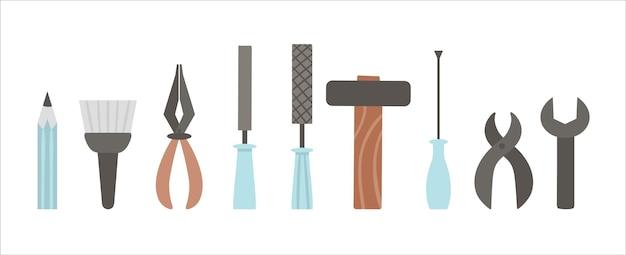Vektorwerkzeuge eingestellt. flache farbige illustration mit gebäude, tischlerausrüstung für karten-, poster- oder flyerdesign. konzept holzarbeiten, reparaturservice oder handwerksbetrieb