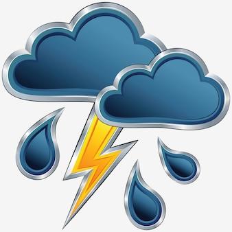 Vektorwettersymbol mit einem sturmwetter
