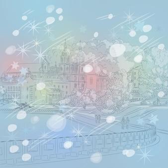 Vektorwinter weihnachtsstadtbild mit kirche und fluss